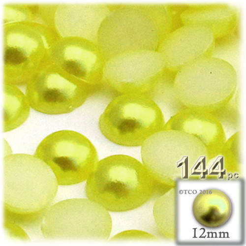 Half Dome Pearl, Plastic beads, 12mm, 144-pc, Yellow Rays
