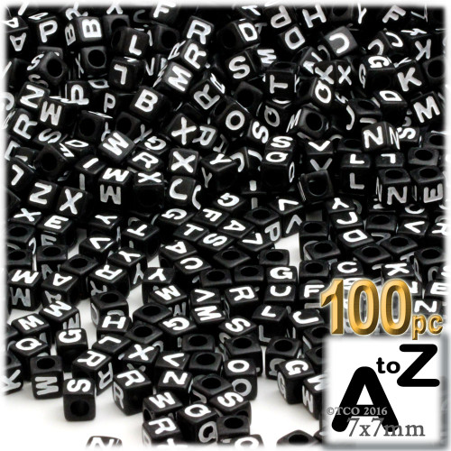 100-pc Alphabet Beads, Cube 7mm, White text, Letter All Letters Mix