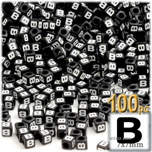 100-pc Alphabet Beads, Cube 7mm, White text, Letter B