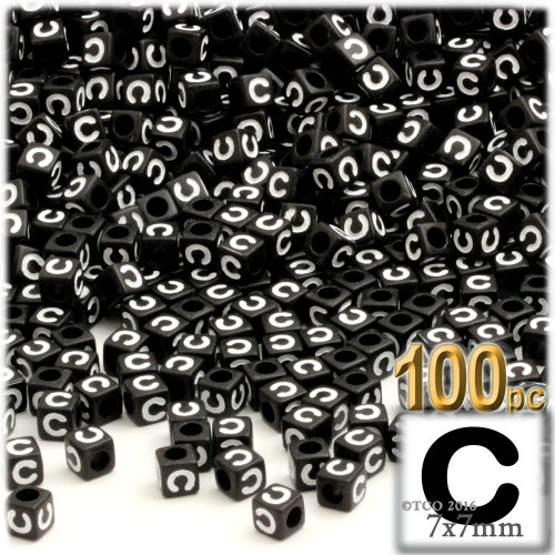100-pc Alphabet Beads, Cube 7mm, White text, Letter C