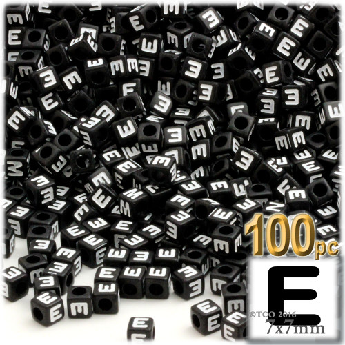 100-pc Alphabet Beads, Cube 7mm, White text, Letter E