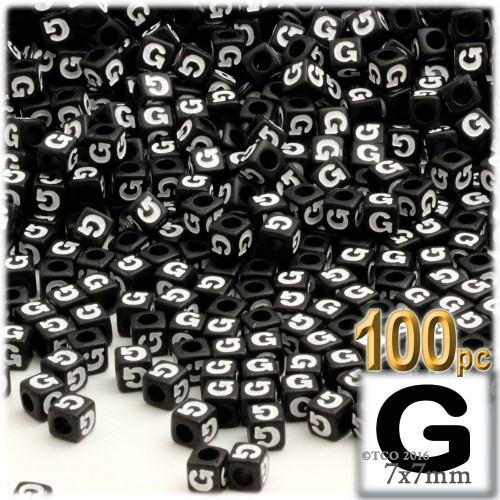 100-pc Alphabet Beads, Cube 7mm, White text, Letter G