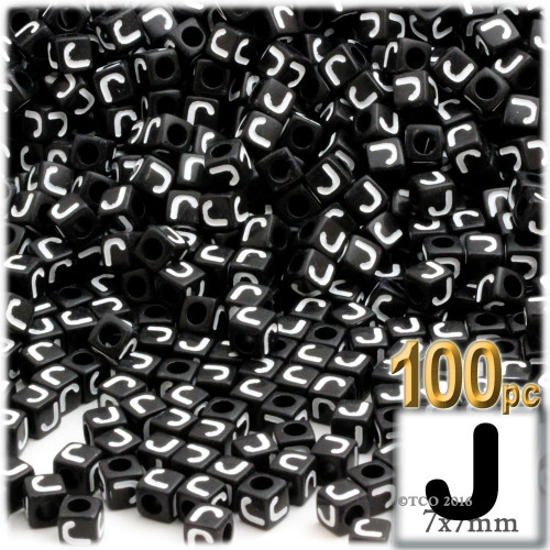 100-pc Alphabet Beads, Cube 7mm, White text, Letter J