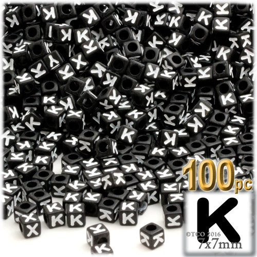 100-pc Alphabet Beads, Cube 7mm, White text, Letter K