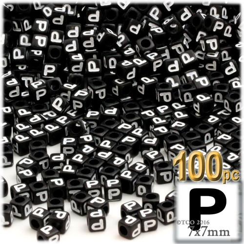 100-pc Alphabet Beads, Cube 7mm, White text, Letter P