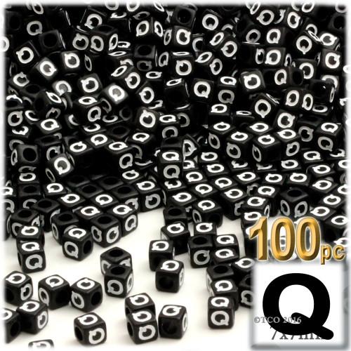 100-pc Alphabet Beads, Cube 7mm, White text, Letter Q