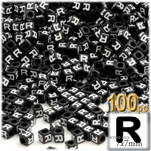 100-pc Alphabet Beads, Cube 7mm, White text, Letter R
