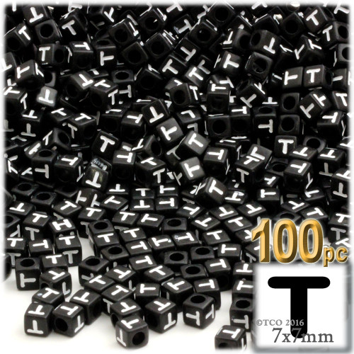 100-pc Alphabet Beads, Cube 7mm, White text, Letter T