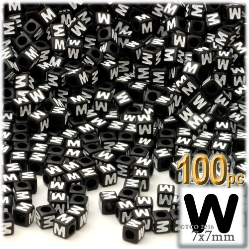 100-pc Alphabet Beads, Cube 7mm, White text, Letter W
