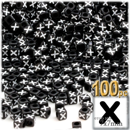 100-pc Alphabet Beads, Cube 7mm, White text, Letter X