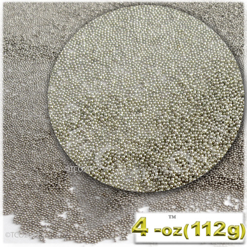 Glass Beads, Microbeads, Opaque, Metallic coated, 0.6mm, 4OZ, Bright Silver