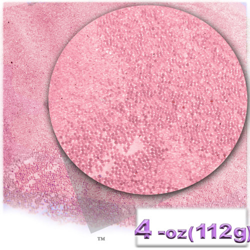 Glass Beads, Microbeads, Transparent, Opal, 0.6mm, 4OZ, Bubble Pink