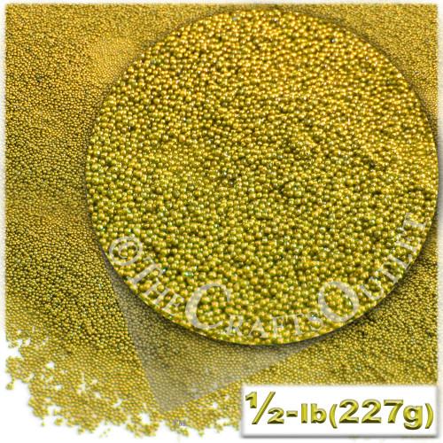 Glass Beads, Microbeads, Opaque, Metallic coated, 0.6mm, 4OZ, Gold