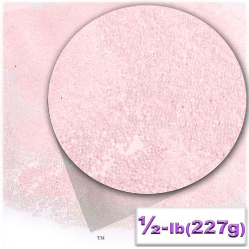 Glass Beads, Microbeads, Transparent, Opal, 0.6mm, 4OZ, Satin Pink
