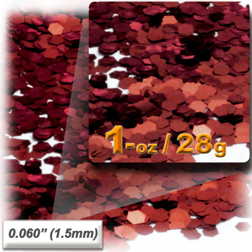 Glitter powder, 1oz/28g, Fine 0.060in, Rich Red