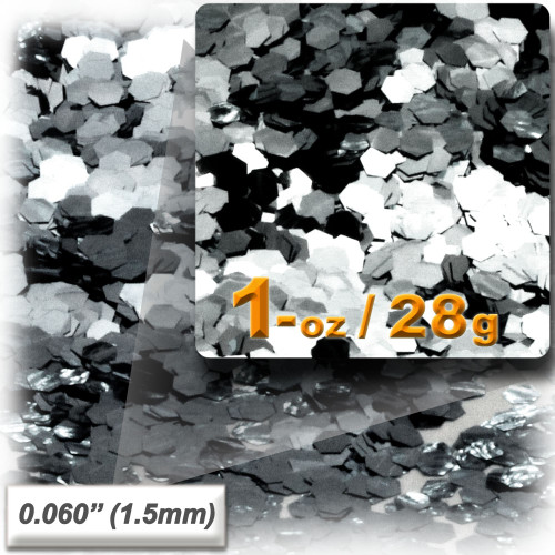 Glitter powder, 1oz/28g, Fine 0.060in, Silver