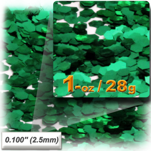 Glitter powder, 1oz/28g, Sequins Glitter 0.100in, Emerald Green
