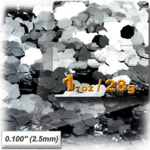 Glitter powder, 1oz/28g, Sequins Glitter 0.100in, Silver
