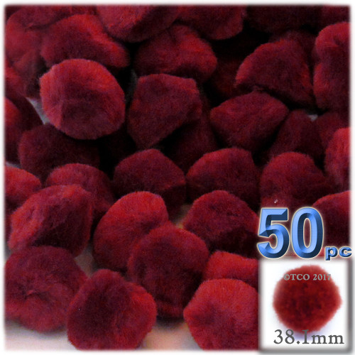 Acrylic Pom Pom, 38mm, 50-pc, Dark Red