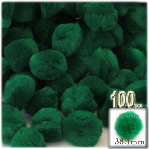 Acrylic Pom Pom, 38mm, 100-pc, Emerald Green