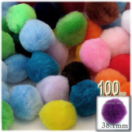 Acrylic Pom Pom, 38mm, 100-pc, Multi Mix