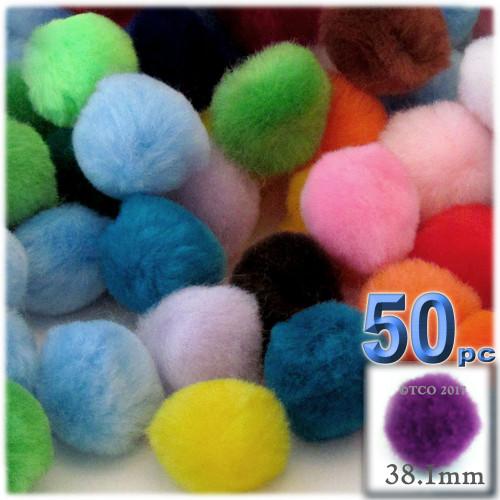 Acrylic Pom Pom, 38mm, 50-pc, Multi Mix