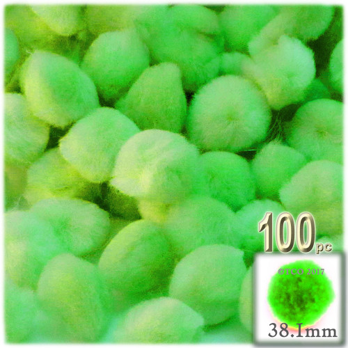 Acrylic Pom Pom, 38mm, 100-pc, Neon Green