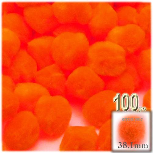 Acrylic Pom Pom, 38mm, 100-pc, Neon Orange