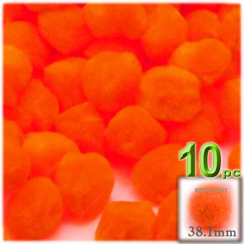 Acrylic Pom Pom, 38mm, 10-pc, Neon Orange
