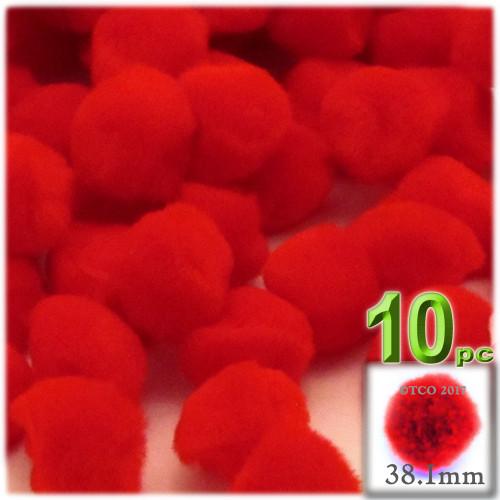 Acrylic Pom Pom, 38mm, 10-pc, Red