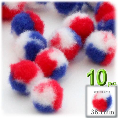 Acrylic Pom Pom, 38mm, 10-pc, Tri-Color Red White and Blue