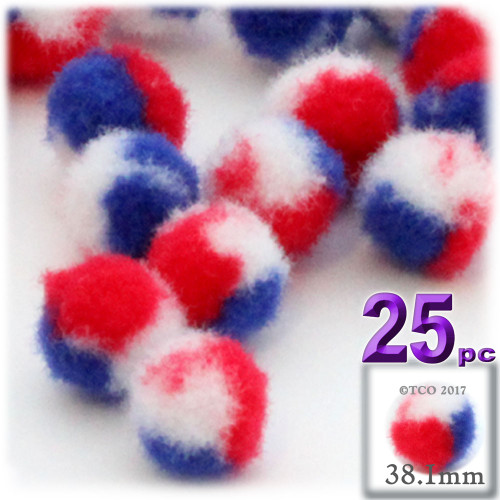 Acrylic Pom Pom, 38mm, 25-pc, Tri-Color Red White and Blue