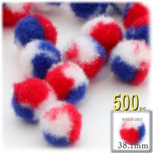 Acrylic Pom Pom, 38mm, 500-pc, Tri-Color Red White and Blue