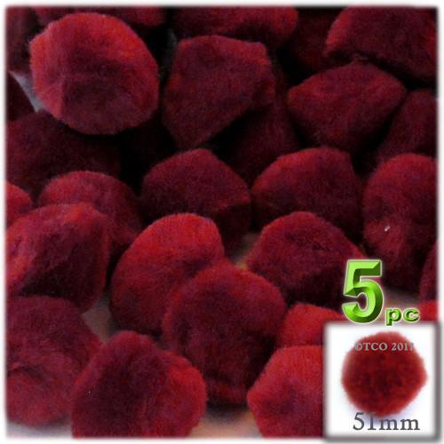 Acrylic Pom Pom, 51mm, 5-pc, Dark Red