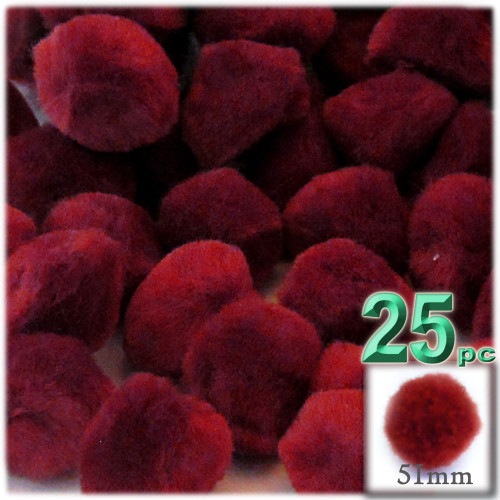 Acrylic Pom Pom, 51mm, 25-pc, Dark Red