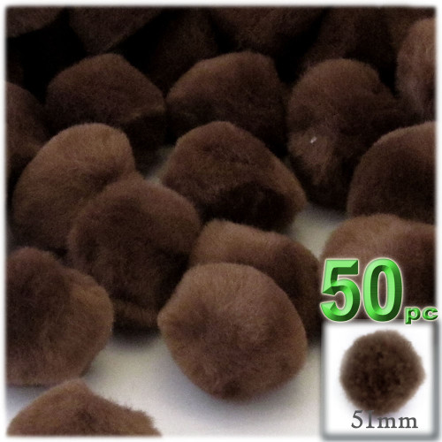 Acrylic Pom Pom, 51mm, 50-pc, Coffee Brown