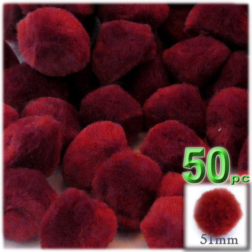 Acrylic Pom Pom, 51mm, 50-pc, Dark Red