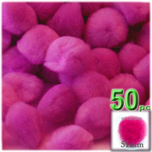Acrylic Pom Pom, 51mm, 50-pc, Neon Pink