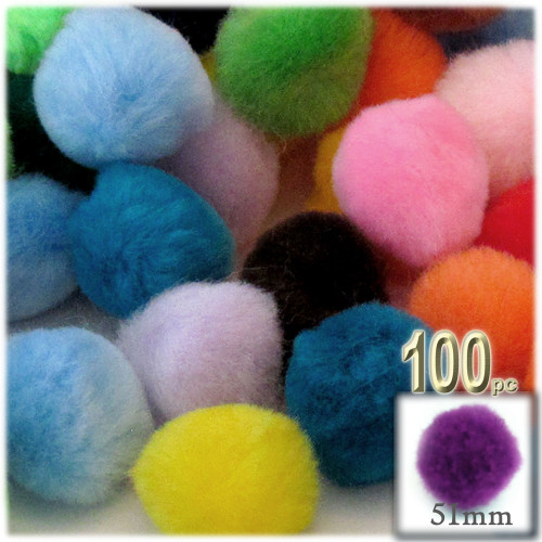 Acrylic Pom Pom, 51mm, 100-pc, Multi Mix