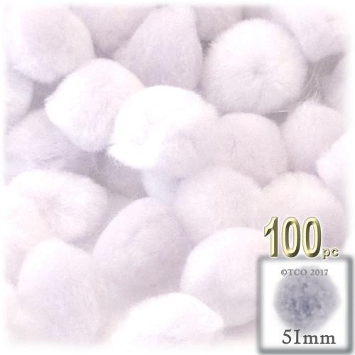Acrylic Pom Pom, 51mm, 100-pc, White