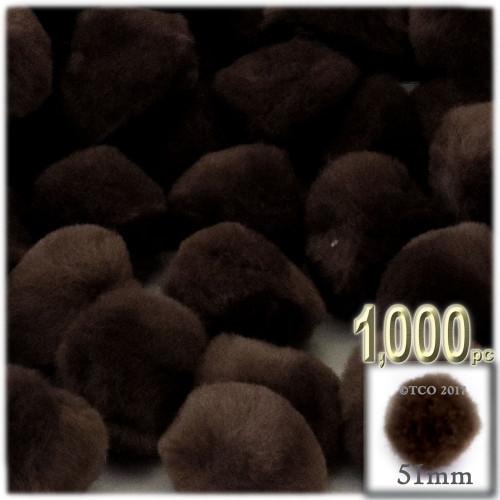 Acrylic Pom Pom, 51mm, 1,000-pc, Dark Brown