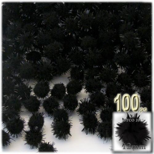 Pom Pom, 12mm, 100-pc, Black