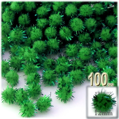 Pom Pom, 12mm, 100-pc, Emerald Green