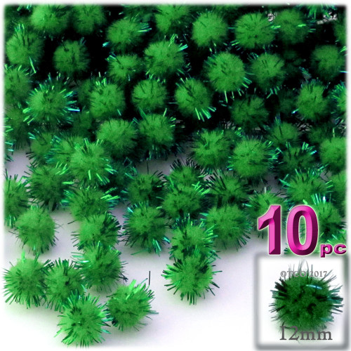 Pom Pom, 12mm, 10-pc, Emerald Green