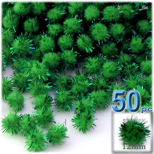 Pom Pom, 12mm, 50-pc, Emerald Green