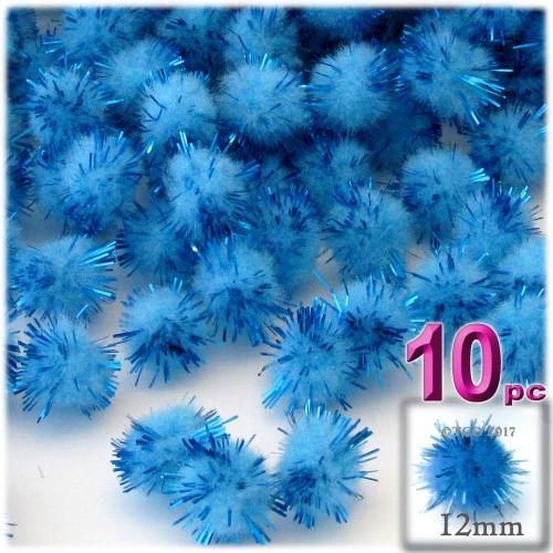 Pom Pom, 12mm, 10-pc, Light Blue