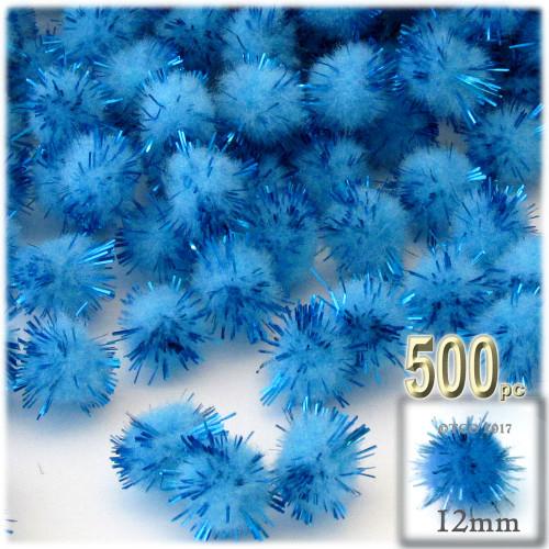 Pom Pom, 12mm, 500-pc, Light Blue