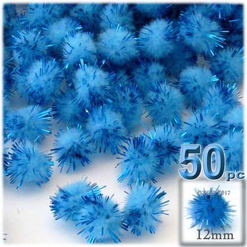 Pom Pom, 12mm, 50-pc, Light Blue