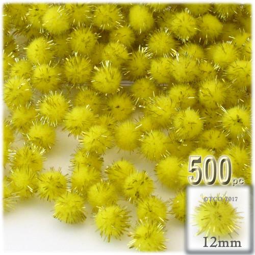 Pom Pom, 12mm, 500-pc, Light Yellow
