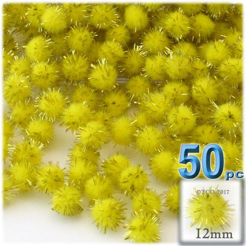 Pom Pom, 12mm, 50-pc, Light Yellow